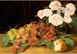 D-7179 Ferdinand Georg Waldmüller - Zátiší s růžemi, jahodami a chlebem