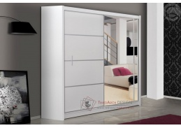 Šatní skříň s posuvnými dveřmi 203m VISTA bílá / zrcadlo