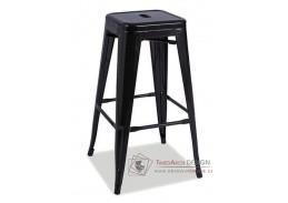 Barová kovová židle LONG černý mat