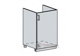 VALERIA, dolní skříňka 1-dveřová pod dřez 50DZ, bílá / bílý lesk