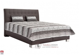 SARA, postel 160x200cm, koženka LOFT BROWN / látka HELENA DUO 1A / matrace IVANA PLUS