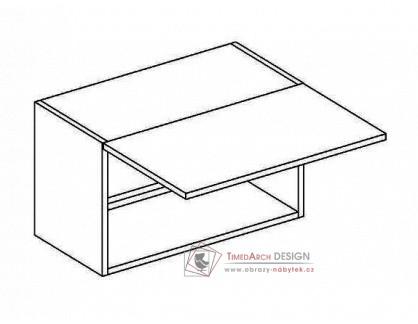MERLIN, horní skříňka nad digestoř WO 50/30, šedá / bílý lesk