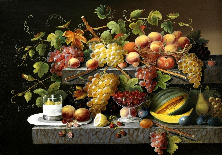 Slavné obrazy XIV-107 Severin Roesen - Zátiší s květinami a ovocem