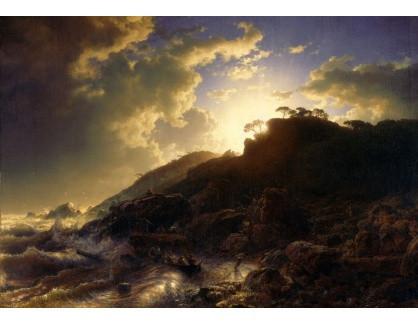 Slavné obrazy XVI-158 Andreas Achenbach - Západ slunce po bouři na pobřeží Sicílie