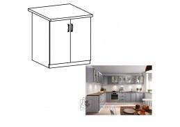 LAYLA, dolní skříňka 2-dveřová D80, bílá / šedá matná