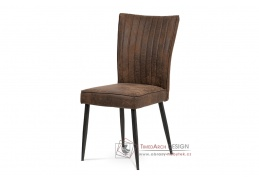 HC-323 COF3, jídelní židle, broušený kov antik / látka hnědá