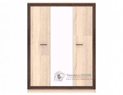 BOSS, Šatní skříň se zrcadlem 150cm 3D BS22