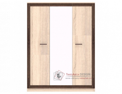 BOSS BS22, šatní skříň se zrcadlem 3D 150cm, dub sonoma / dub čokoládový