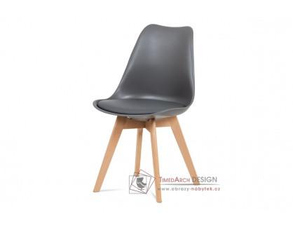 CT-752 GREY, jídelní židle, buk / plast + ekokůže šedá