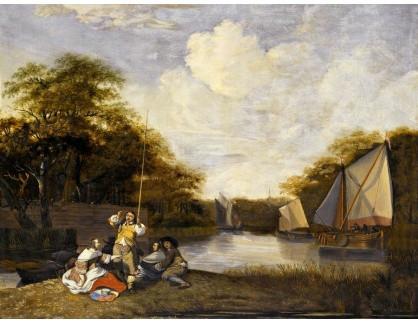 KO III-183 Jacob Esselens - Říční krajina s rybolovem