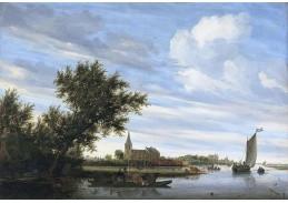 Slavné obrazy VI-104 Salomon van Ruysdael - Říční krajina s kostelem