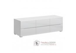 JOLK, televizní stolek 6S/140, bílá / bílý lesk