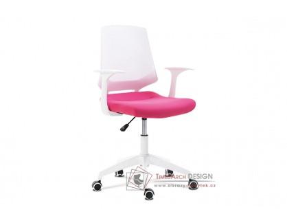 KA-R202 PINK, kancelářská židle, plast bílý / látka růžová