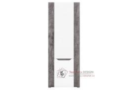 BRANDO B06, regál s dvířky, bílá / beton / bílý lesk