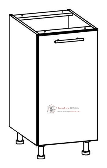 TIFFANY, kuchyňská dolní skříňka T15/D40 bílá / bílý lesk
