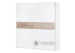 WENECJA, šatní skříň s posuvnými dveřmi 180cm, bílá / dub sonoma