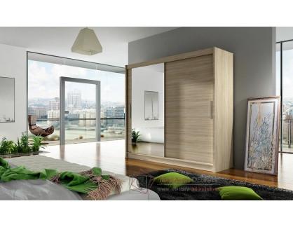 BEGGA VI, šatní skříň s posuvnými dveřmi 180cm, dub sonoma / zrcadlo