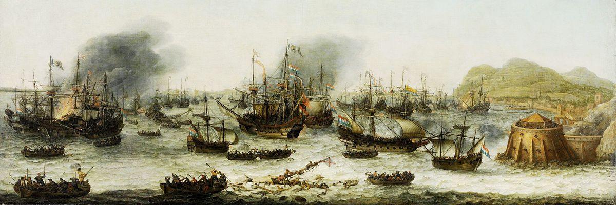 Obraz panorama DDSO-2428 Adam Willaerts - Vítězství nad Španěly v Gibraltaru 25.4.1607