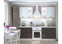 PRAGA, kuchyně 200 cm, bílá / wenge / bílý lesk