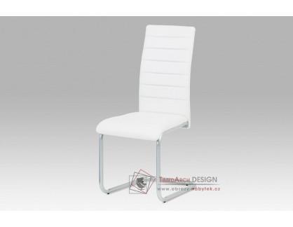 DCL-102 WT, jídelní židle, šedý lak / ekokůže bílá