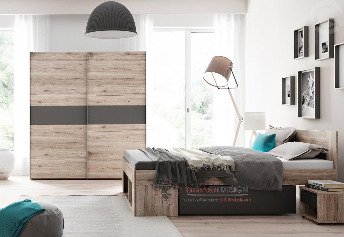 Ložnicová sestava nábytku ROMA dub wellington / šedá antracit