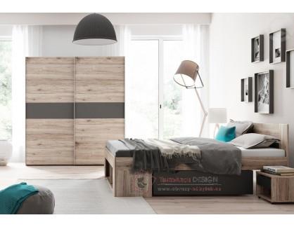 ROMA, ložnicová sestava nábytku, dub wellington / šedá antracit