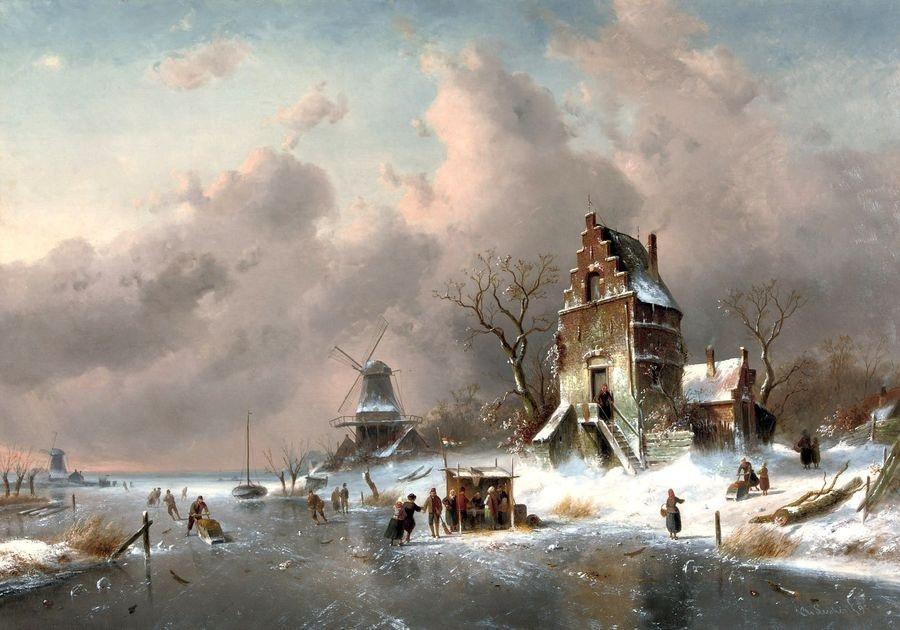 VH110 Charles Leickert - Bruslaři na zamrzlém kanálu u mlýna