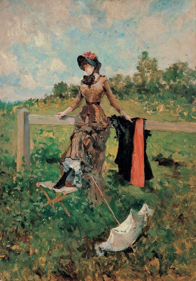 Slavné obrazy XVII-106 Francisco Miralles Galup - Žena s deštníkem