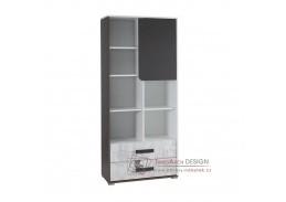 MATEL, skříň kombinovaná, bílá / šedý grafit / enigmata