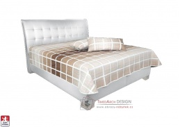 SARA, postel 160x200cm, koženka LOFT 1 / látka LICHY DUO 5A / BEZ matrací