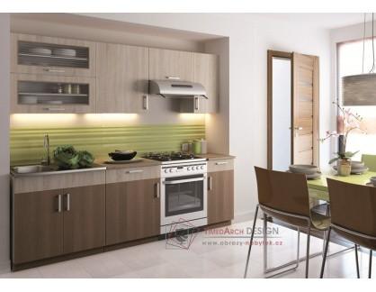 BIANCA, kuchyně s výklopem 240cm, bílá / skořicová akácie / dub sonoma