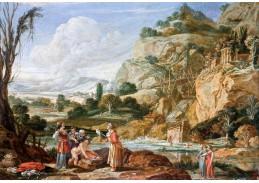 Slavné obrazy XI-93 Bartholomeus Breenbergh - Nalezení Mojžíše