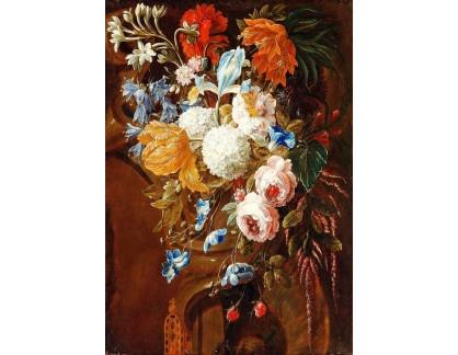 Krásné obrazy II-469 Neznámý autor - Květinové zátiší na římse