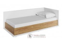 SOMAS 09P, postel 90x200cm s ÚP - pravá, bílá / ořech natural