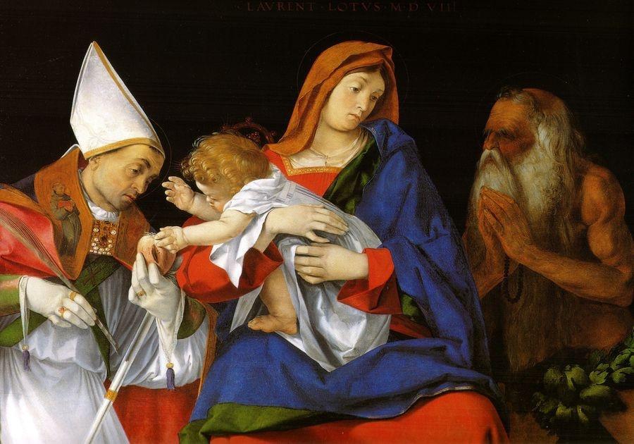 VLL 01 Lorenzo Lotto - Madonna s biskupem a svatým Onuphriusem