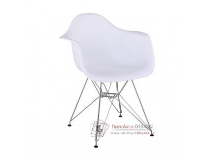 FEMAN NEW, jídelní židle - křeslo, chrom / plast bílý