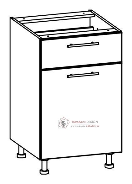 TIFFANY, kuchyňská dolní skříňka T18/D50S1 bílá / bílý lesk