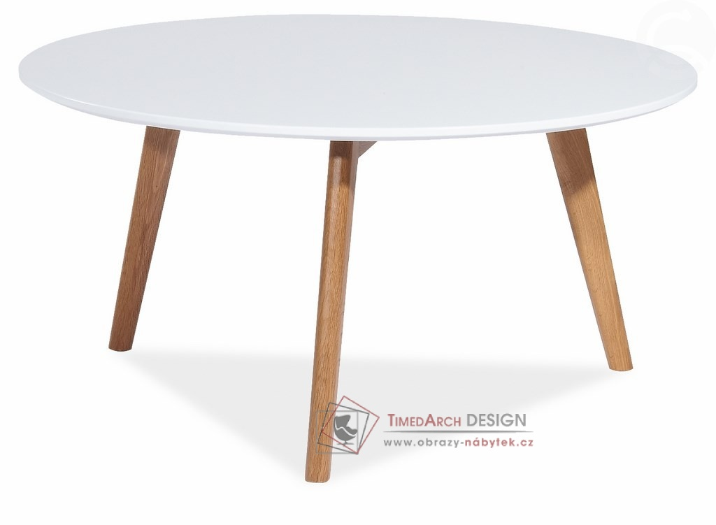 Konferenční stolek pr. 80 cm MILAN L1 dub / bílý lak