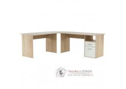MAURUS MA11, počítačový stůl rohový, dub sonoma / bílá
