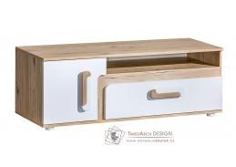 APETTITA 17, televizní stolek, dub jasný / bílá