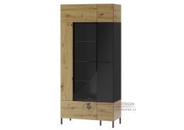 LUCAS 12, vitrína 2-dveřová, dub artisan / černá