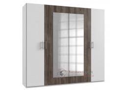 MIRABEL 750, šatní skříň 4-dveřová 220cm, bílá / dub bahenní