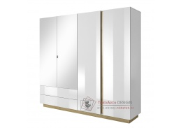 CITY, šatní skříň se zrcadlem 220cm, bílá / dub grandson / bílý lesk