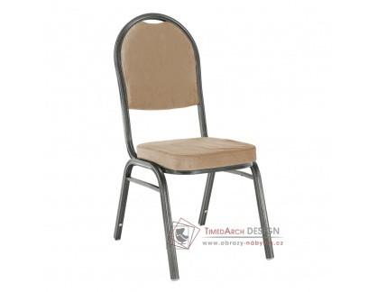 JEFF 2, konferenční - jídelní židle, šedá / látka béžová
