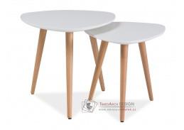 Konferenční stolky - komplet NOLAN A buk / bílý lak