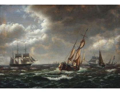 VL329 Jens Erik Carl Rasmussen - Přímořská krajina s plachetnicemi ve vysokých vlnách