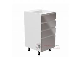 AURORA, dolní kuchyňská skříňka D40S4, bílá / šedý lesk