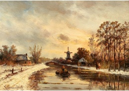 D-9429 Hendrik Dirk Kruseman van Elten - Zimní krajina s větrným mlýnem