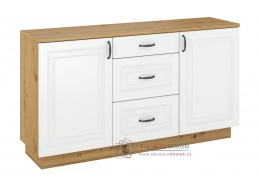 FEDERICO, komoda 2-dveřová se 3-mi zásuvkami 2D3S, dub artisan / bílá