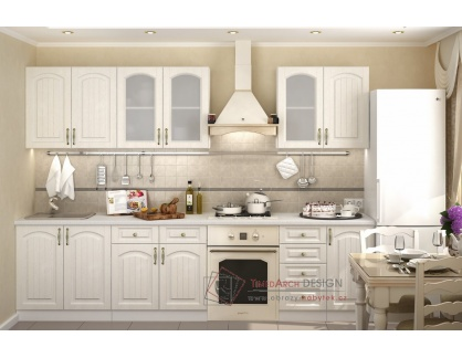 VERONA II, kuchyně 240cm, bílá / zlatý jasan